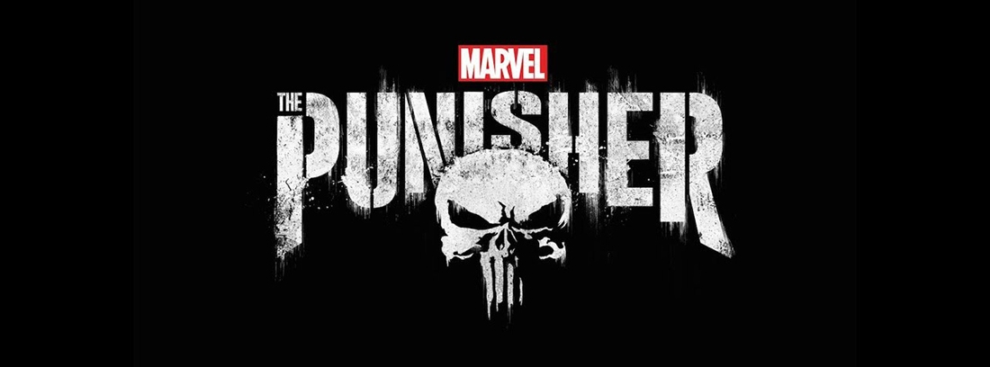 Letras blancas sobre fondo negro donde se lee The Punisher y una calavera