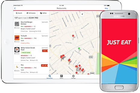 Tablet y móvil con Just Eat